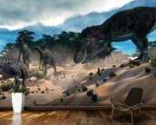 Dinosaur Hunting wallpaper mural kitchen preview