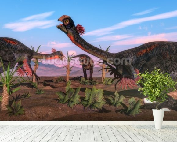 Tyrannosaurus Rex Attacking Gigantoraptor Dinosaur mural wallpaper room setting