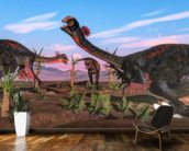 Tyrannosaurus Rex Attacking Gigantoraptor Dinosaur mural wallpaper kitchen preview