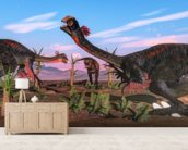 Tyrannosaurus Rex Attacking Gigantoraptor Dinosaur mural wallpaper living room preview