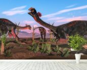 Tyrannosaurus Rex Attacking Gigantoraptor Dinosaur mural wallpaper in-room view