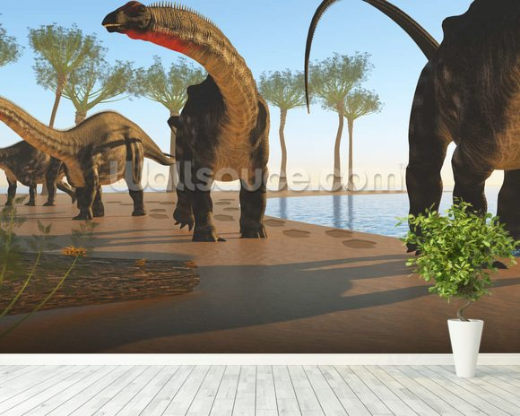 Apatosaurus Dinosaur Shore wall mural room setting