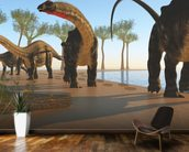 Apatosaurus Dinosaur Shore wall mural kitchen preview