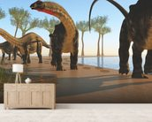 Apatosaurus Dinosaur Shore wall mural living room preview