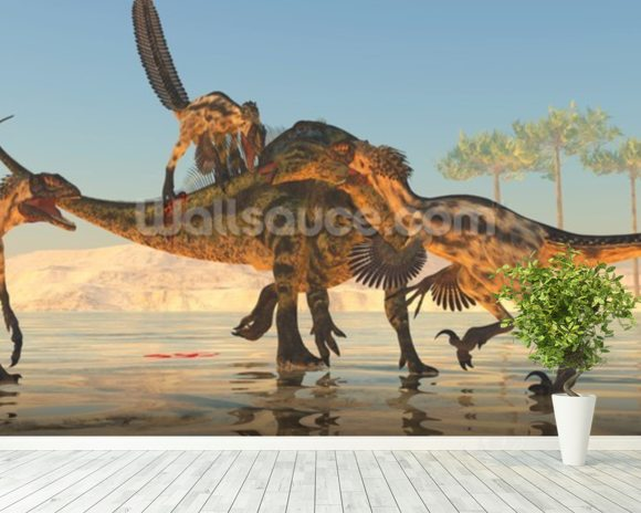 Tenontosaurus Attack wall mural room setting