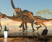 Tenontosaurus Attack wall mural kitchen preview