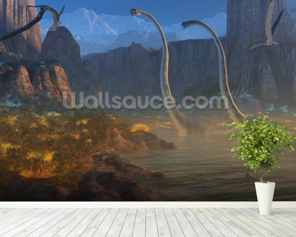 Ancient Jurassic Coast wallpaper mural room setting