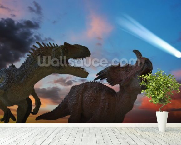 Dinosaurs Battle as the Comet Approaches wall mural room setting
