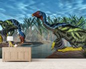 Caudipteryx Dinosaur wallpaper mural living room preview
