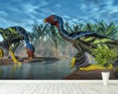 Caudipteryx Dinosaur wallpaper mural in-room view