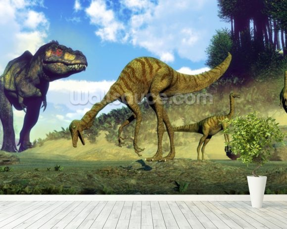 Tyrannosaurus Rex Attacking wallpaper mural room setting