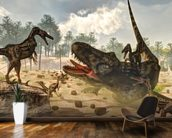 Tarbosaurus Attacked by Velociraptor Dinosaurs mural wallpaper kitchen preview