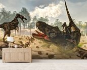 Tarbosaurus Attacked by Velociraptor Dinosaurs mural wallpaper living room preview