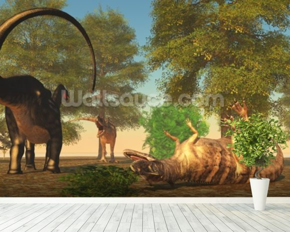 Apatasaurus Fights Ceratosaurus wall mural room setting