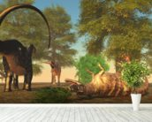 Apatasaurus Fights Ceratosaurus wall mural in-room view