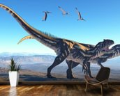 Allosaurus on Mountain wallpaper mural kitchen preview