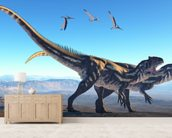 Allosaurus on Mountain wallpaper mural living room preview