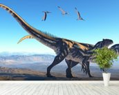 Allosaurus on Mountain wallpaper mural in-room view