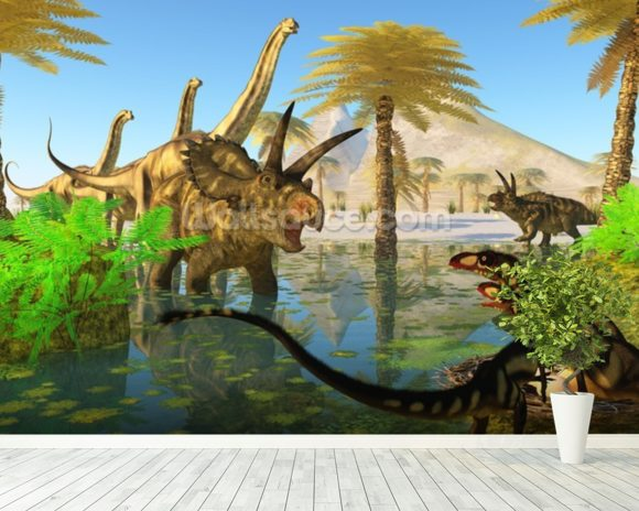 Cretaceous Swamp mural wallpaper room setting