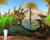 Cretaceous Swamp mural wallpaper kitchen preview