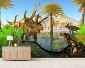 Cretaceous Swamp mural wallpaper living room preview