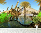 Cretaceous Swamp mural wallpaper in-room view