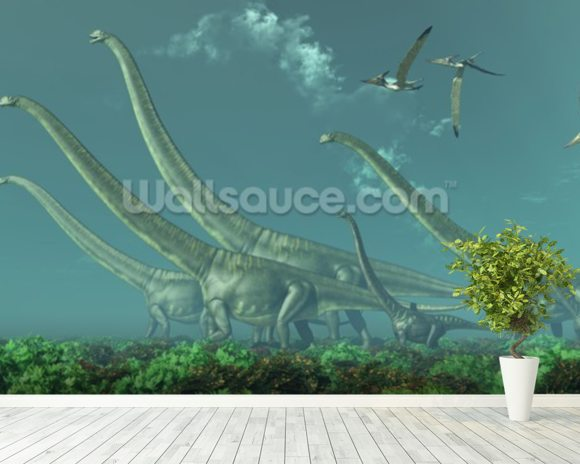 Mamenchisaurus Dinosaur Travels wall mural room setting