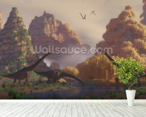 Sauroposeidon Dinosaurs mural wallpaper room setting