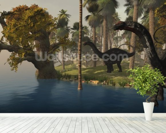 Apatasaurus Island mural wallpaper room setting