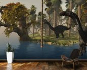 Apatasaurus Island mural wallpaper kitchen preview