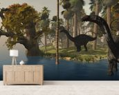 Apatasaurus Island mural wallpaper living room preview