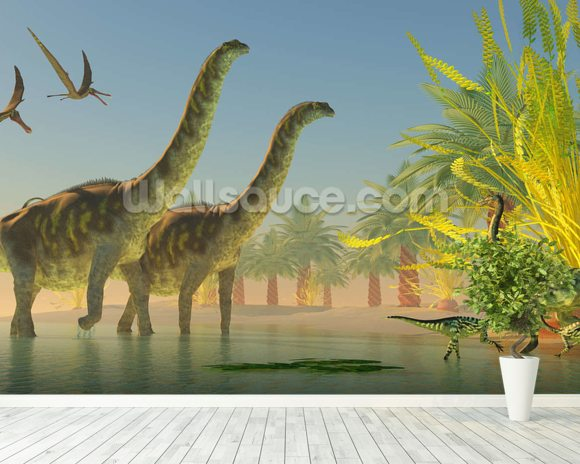 Argentinosaurus in Lake wall mural room setting