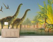 Argentinosaurus in Lake wall mural living room preview
