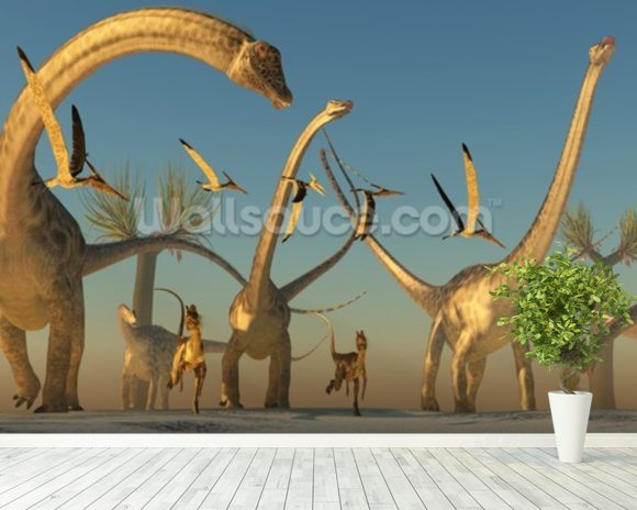 Diplodocus Dinosaur Journey wallpaper mural room setting