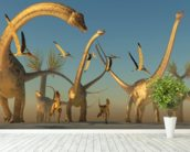 Diplodocus Dinosaur Journey wallpaper mural in-room view