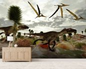 Utahraptor Hunt wall mural living room preview