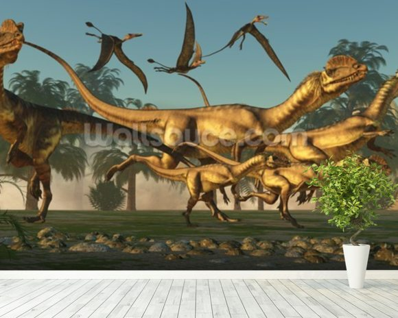 Dilophosaurus Hunt wallpaper mural room setting