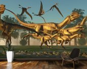 Dilophosaurus Hunt wallpaper mural kitchen preview