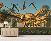 Dilophosaurus Hunt wallpaper mural living room preview