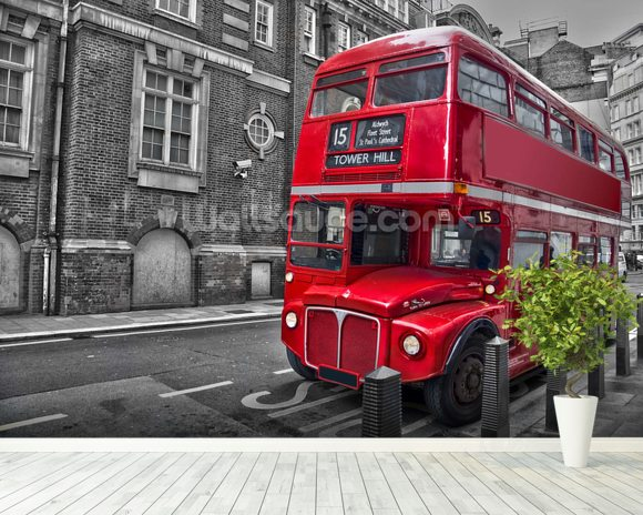 Red London Bus wall mural room setting
