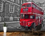 Red London Bus wall mural kitchen preview
