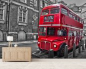 Red London Bus wall mural living room preview