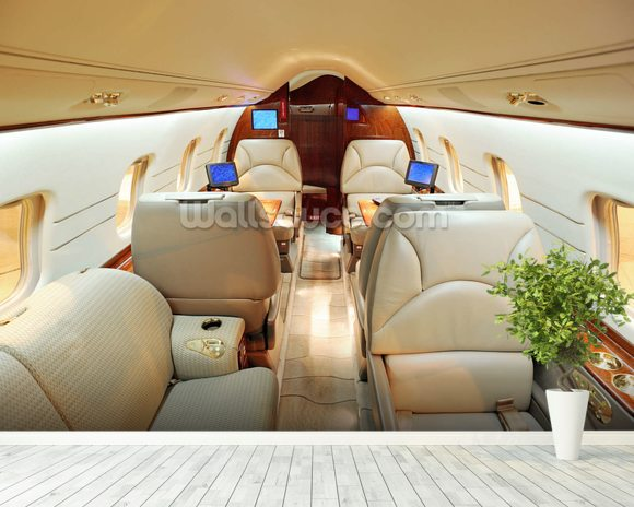 Interior of Luxury Jet wallpaper mural room setting