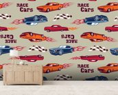 Muscle Car Illustration mural wallpaper living room preview
