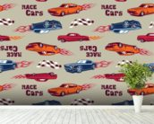 Muscle Car Illustration mural wallpaper in-room view