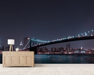 Manhattan Skyline and Brooklyn Bridge Wallpaper Mural Wall Murals Wallpaper