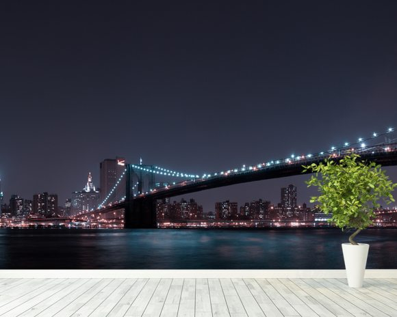 Manhattan Skyline and Brooklyn Bridge wallpaper mural room setting