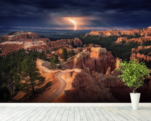 Lightning over Bryce Canyon mural wallpaper room setting