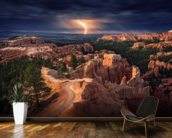 Lightning over Bryce Canyon mural wallpaper kitchen preview
