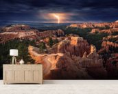 Lightning over Bryce Canyon mural wallpaper living room preview
